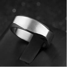 Silver Bolt Stainless Steel Mens Ring #10