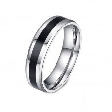 Black & Silver Stainless Steel Mens Ring #10
