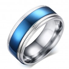 Blue Stainless Steel Mens Ring #9