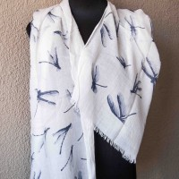 Cotton Scarf with Dragonfly Detail