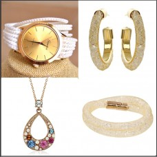 4Pc Set with Necklace, Watch, Bracelet & Earrings