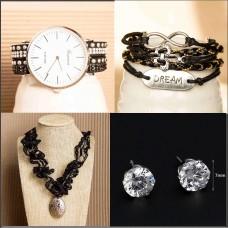 4Pc Set with Necklace, Watch, Bracelet & Earrings