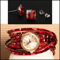2Pc Set with Earrings & Watch