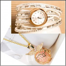 2Pc Set with Necklace & Watch