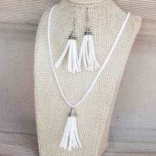 2Pc Set with Faux Suede Necklace & Earrings