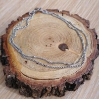 Stainless Steel Ankle double Chain with small beads