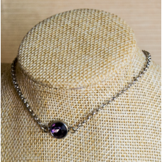 2mm Stainless Steel Ankle Chain with Amethyst Gem