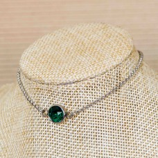 2mm Stainless Steel Ankle Chain with Emerald Gem
