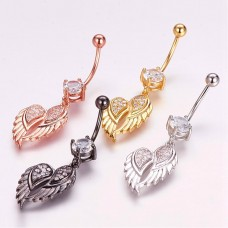 Stainless Steel Wing Dangle Body Piercing Jewerllery - RoseGold