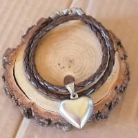 Stainless Steel Heart& 6mm Faux Leather wrap bracelet/choker