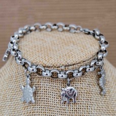 Stainless Steel Charm Bracelet SILVER 7mm