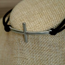 Stainless Steel Cross Bracelet Black Suede
