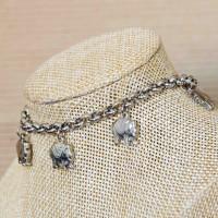 Stainless Steel Elephant Charm Bracelet SILVER 6mm