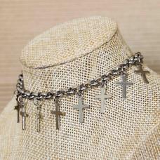 Stainless Steel Cross Charm Bracelet  6mm