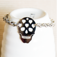Stainless Steel Skull Bracelet SILVER 6mm
