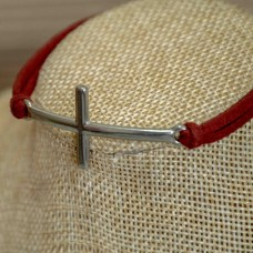 Stainless Steel Cross Bracelet Red Suede