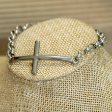 Stainless Steel Cross Bracelet SILVER 6mm