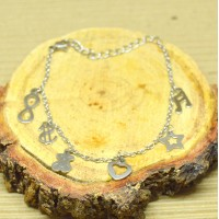 Stainless Steel 2mm Oval kids Charm bracelet