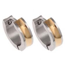 Two Tone Stainless Steel Huggie Earrings
