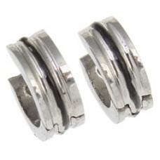 Two Tone UNISEX Stainless Steel Huggie Earrings