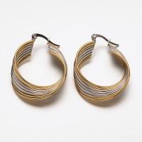 24mm Stainless Steel Two Tone Twist Hoop Earrings