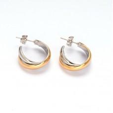 26mm Stainless Steel Two Tone Round Hoop Earrings