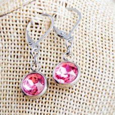 Stainless Steel Round Dangle Earrings - Pink