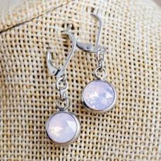 Stainless Steel Round Dangle Earrings - Milk Pink