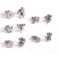 Rinestone Stainless Steel Stud Earring set of 5pairs
