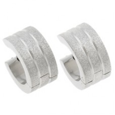 Silver Frosted Stainless Steel Huggie Earrings