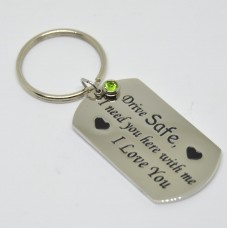 Stainless Steel Tag Keyring Drive Safe