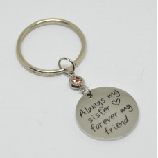 Stainless Steel Disc Keyring Sister
