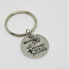 Stainless Steel Disc Keyring With God all things are possible