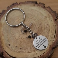 Stainless Steel Disc Keyring Heart of Gold