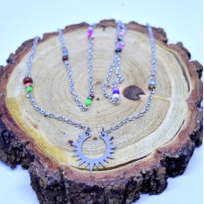 Stainless Steel Necklace with Sun pendant