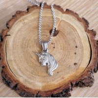 Stainless Steel Unicorn 2mm Rolo Necklace
