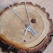 Stainless Steel Cross with Hope tag 2mm Rolo Necklace