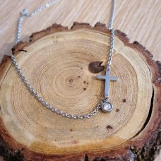 Stainless Steel Cross with Stone 2mm Oval Necklace