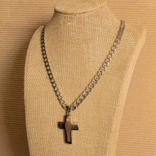 6mm Stainless Steel Mens Necklace with Cross