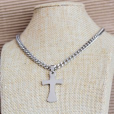 5mm Stainless Steel Mens Necklace with Cross