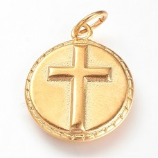 Stainless Steel Gold Plated Necklace with Cross