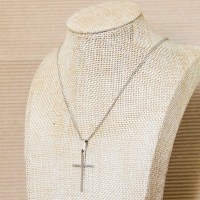 Stainless Steel Link Necklace with Cross