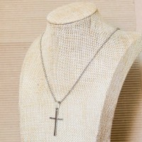 Stainless Steel Rolo Necklace with Cross