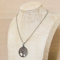 Stainless Steel rolo Necklace with Tree of Life