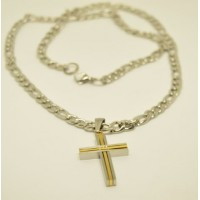 7mm Stainless Steel  Figaro Necklace with two tone Cross