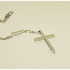 Engraved Cross Stainless Steel Necklace