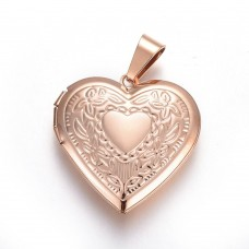 2mm BOX ROSE gold Stainless Steel Necklace with Locket