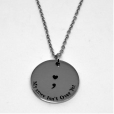Stainless Steel 30mm Semicolon Disc Necklace