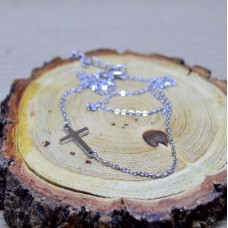 Stainless Steel asimetrical necklace - Cross
