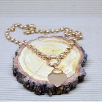 7mm Rose Gold Stainless Steel Rolo Necklace with Heart pendant